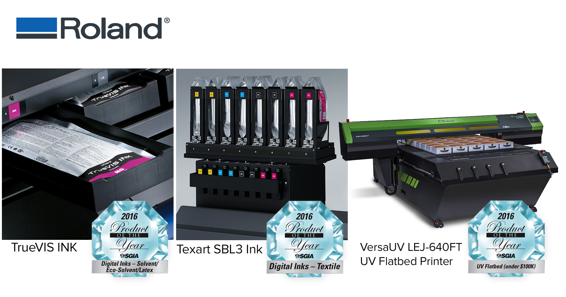 Roland DGA Wins Three Prestigious Product of the Year Awards at SGIA 2016